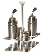 Francois et Mimi Stainless Steel and Glass Cruet Set, Oil and Vinegar Bo... - $15.71
