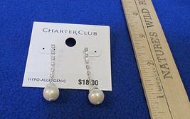 Charter Club Dangle Pierced Earrings Faux Pearl & Rhinestone Silver Tone Metal  - $10.34