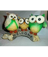 Wooden WELCOME Tabletop Decor Three Colorful Owls Standing On Log Molded... - $19.79