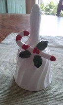 """Ron Gordon Designs Ceramic 5"""" White Holiday BELL with Candy Cane & Holly - $14.84"""