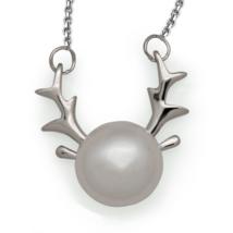Sweet Natural Pearl Sterling Silver Elk Deer Necklace - $29.99