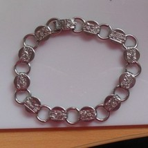 Vintage Signed Sarah Coventry Silver-tone Round Disk Floral Chain Link B... - $23.27