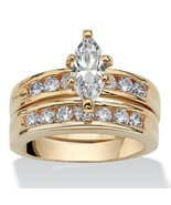 1.78 TCW Cubic Zirconia Bridal Set 14k Yellow Gold-Plated - $26.82