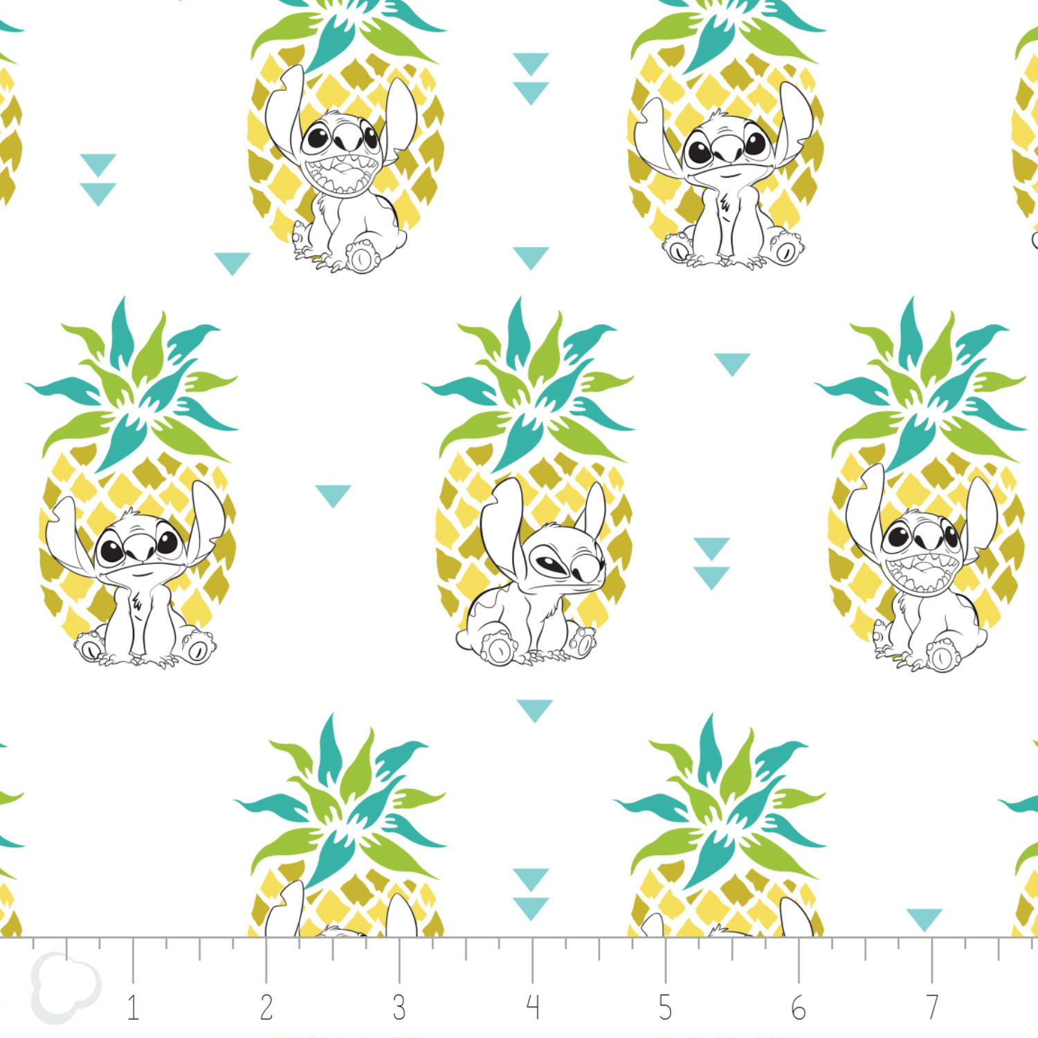 Disney Stitch Pineapple in White 100% Cotton fabric by the yard