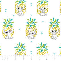 Disney Stitch Pineapple in White 100% Cotton fabric by the yard - $9.79