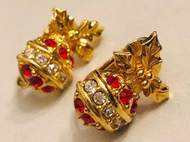 Vintage Christmas Balls Gold Tone and Rhinestones Clip On Earrings - $15.00