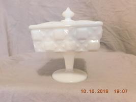Vintage Westmoreland Old Quilt Milk Glass Vanity Dish 9 in Tall Pedestal... - $20.00