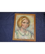 Art Painting Oil Canvas Young Girl Woman Ancobilt Frame Glendale NY ~18x15 - $46.39
