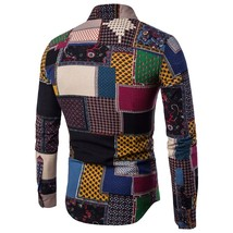 Man Japanese vintage fashion shirt male striped plaid shirt American cas... - $11.30