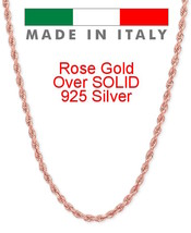 Rope Chain 14K Rose Gold Over Solid 925 Silver MADE IN ITALY Men's Women... - $18.69+