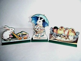 Vintage Style Wooden Die Cuts Easter Bunny Chicks Three Piece Set New - $19.75