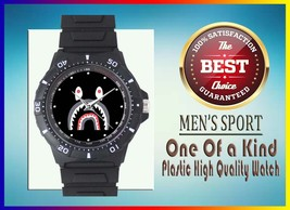 Bape Shark Ape Logo Custom Black Plastic High Quality Watch Model 305 Wa... - $23.85 CAD