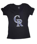 Colorado Rockies de Femmes V-Neck T-Shirt, Noir, LARGEUR - $11.90