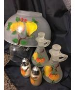VTG Hazel Atlas Frosted Glass Gay Fad 5pc Salad Bowl Set Cruets Salt & P... - $49.45