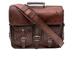 Vintage Brown Men's Real Goat Leather Messenger Shoulder Bag Briefcase - $113.21 CAD