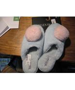 Ellen Tracy Plush Mule Slippers Slip On med 8 light blue Faux Fur with p... - $16.78