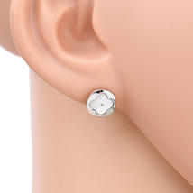 UE- Petite Silver Tone Designer Clover Earrings With Faux Mother-Of-Pearl Inlay - $14.99