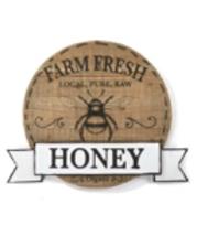 "18.9"" Round Honey Bee MDF & Metal Wall Plaque Farm Fresh Organic Raw Honey Sign"
