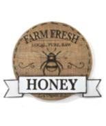"""18.9"""" Round Honey Bee MDF & Metal Wall Plaque Farm Fresh Organic Raw Hon... - $59.39"""