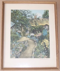 "1914 Wallace Nutting "" A Garden of Larkspur"" Photographic Litho Print"