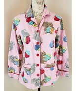Nick & Nora Size Small Pink Squirrels Acorns Button Front Flannel Pajama... - $18.99