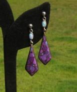 Purple Turquoise and Fire Opal Dangle Post Pierced Earrings - $125.00