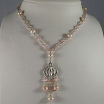 .925 SILVER RHODIUM NECKLACE WITH PINK CRISTALS AND FRESHWATER PINK PEARLS image 1