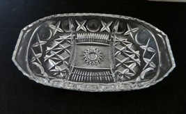 Pressed Glass Oval Relish 3 Part Tray Scalloped Edge with X's and O's - $19.68