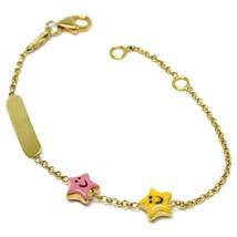 Bracelet or Jaune 18K 750, de Fille, Étoiles Émaillés, Plaque, 14 CM - $354.22