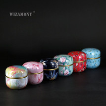 WIZAMONY Small Tea Can Canister Colorful for Tea Stainless Steel Sealed ... - $28.51