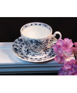 Johnson Brothers Saxony Blue Onion Cup and Saucer, 1965, Made in England - $12.99