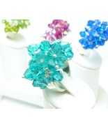 Swarovski Crystal Cha Cha Blue Zircon Sterling Beaded, Bling, Cocktail Ring - $69.00