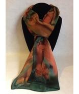 Hand Painted Silk Scarf Orange Olive Green Oblong Ladies Unique Hair Nec... - $44.00