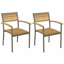 vidaXL 2x Solid Acacia Wood Stackable Outdoor Chairs Patio Seat Furniture - $98.99