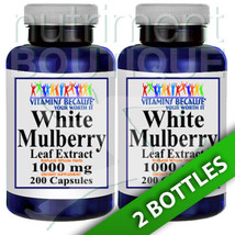 White Mulberry Leaf Extract 1000mg 2X200 Caps Vitamins Because - $21.00