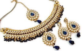 Indian Ethnic GoldPlated Kundan Blue Fashion Bridal Jewellery NecklaceSet - $13.70