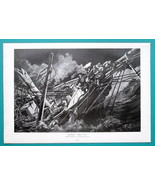 SAILSHIP at Night Sinking Fire Torch May Day - VICTORIAN Era Print - $21.60