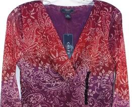 Chaps by Ralph Lauren V Neck Purple Empire Scroll Mesh Blouse Top Misses XS 2 - $29.98