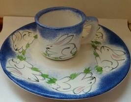 Child Bunny Rabbit Easter Plate Dish Mug Set  Present Tense Anne Hathaway  - $13.45