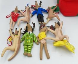 Pottery Barn Kids Reindeer Ornaments Stuffed Plush Fabric Set 8 + Soft B... - $92.07