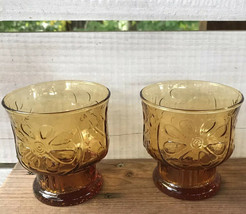 Vintage Libbey Pair Amber Country Garden Daisy Flower Lowball Juice Glasses 2pc. - $14.67