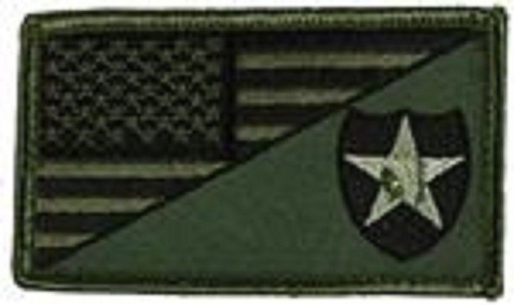 Primary image for ARMY 2ND INFANTRY OD GREEN FLAG 2 X 3  EMBROIDERED PATCH WITH HOOK LOOP