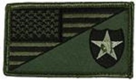 ARMY 2ND INFANTRY OD GREEN FLAG 2 X 3  EMBROIDERED PATCH WITH HOOK LOOP  - $18.04