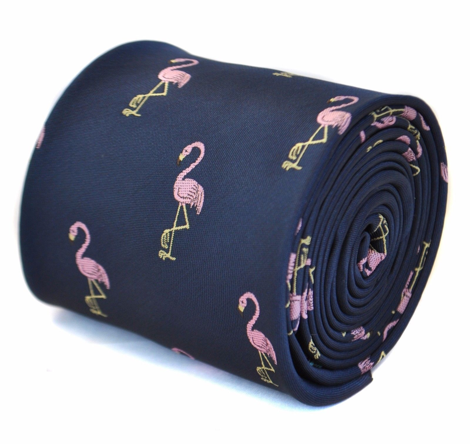 Frederick Thomas navy tie with flamingo embroidered design FT1706