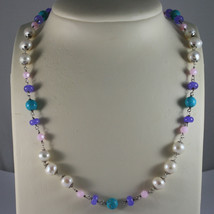 .925 SILVER RHODIUM NECKLACE WITH WHITE PEARLS, TURQUOISE, AMETHYST AND CRISTALS image 1