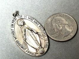 Vintage Sterling Silver Pendant Religious Sacred Virgin Mary  15.3gr - $29.59