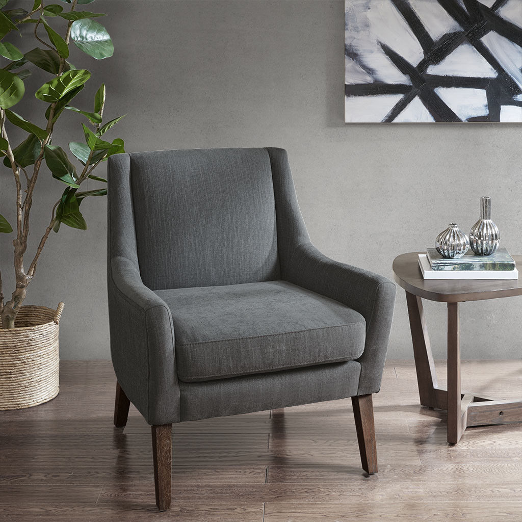 Modern classic urban gray upholstered accent chair modern - Modern upholstered living room chairs ...