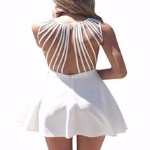 White Sleeveless Strappy Back Women Skater Dress - $38.83