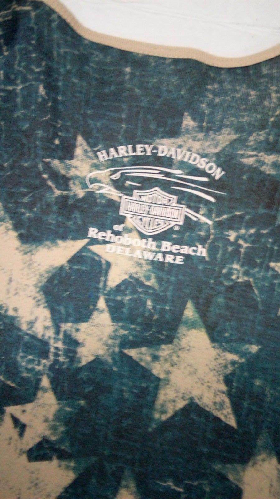 Harley Davidson Of Rehoboth Beach Delaware XL US Flag Womens embellished Blouse  image 10