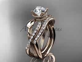Unique Nature inspired engagement ring 14kt rose gold diamond wedding se... - $2,265.00